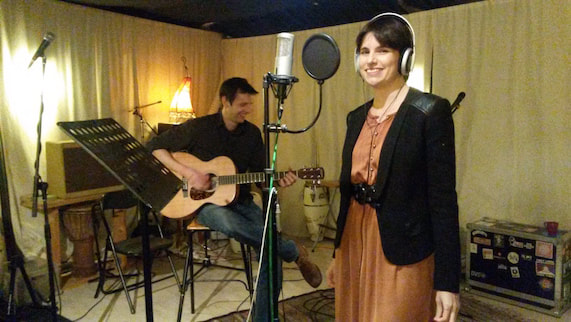 Ariane and Mark in the recording studio